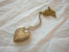 Vintage 1/20 Gold Filled Double Heart Locket Pendant Etched Necklace via Once Upon A Gem. Just beautiful!