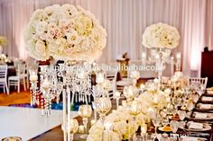 tall glass crystal candelabras with flower bowl for wedding decoration flower stand