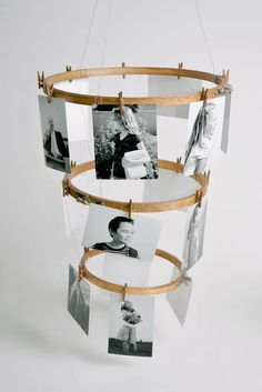 photo carousel made with embroidery hoops and mini clothes pins