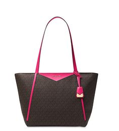 ba63d1d59b81 Michael Kors Whitney tote Top Zip Signature Logo Tote Brown Ultra pink # MichaelKors #ToteShoppers