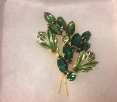 Exquisite Green Rhinestone and enamel floral by SpaceDucky on Etsy