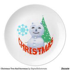 Christmas Tree And Snowman Plate