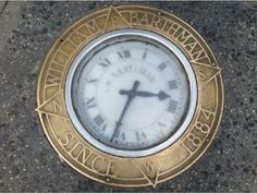 Sidewalk Clock, installed during the Gilded Age in NYC, c.1889. Located at, Broadway and Maiden Lane, in NYC's financial district. Used as an advertisement campaign, for the William Barthman Jewelers Ltd. Which was established in c.1884, and is still operational today. ~~ {cwl}