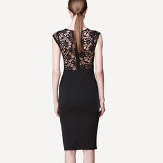 Sexy Black Hollow Out Lace Spliced Short Sleeve Dress