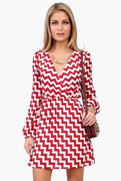 Chevron Wrap Dress in Crimson