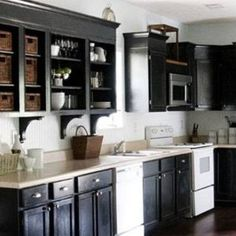 kitchen cabinet painting ideas black color and white range and dishwasher , Cool Kitchen Cabinet Painting Ideas In Kitchen Category
