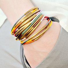 Three Leather Cord and Multi Tube Bangle Wrap Bracelet Set of THREE Bracelets