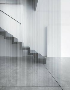 Satin-finished and acid-etched glass strip mate double face by Vitrealspecci Interior Stairs, Interior And Exterior, Interior Design, Interior Office, Modern Staircase, Staircase Design, Divider Design, Wall Design, Architecture Details