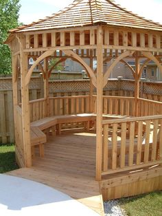 This Pine Wood Gazebo Has Built In Benches And A Table In