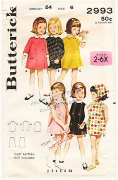 Vintage Pattern Butterick 2993 Girls' Dress 60s Size 6 by La-Prairie-Lady, via Flickr