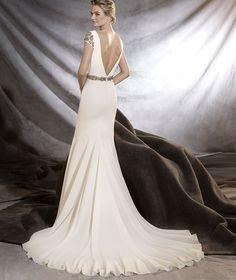 ORVILLE - Vestido de novia de estilo sirena y escote de pico