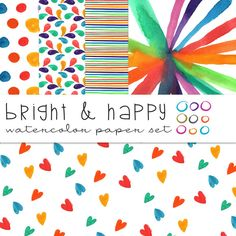 Bright & Happy Watercolor Papers by OnTheSpotStudio on Creative Market