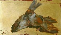 Eva de Visser – Title: Wrestlers (Worstelaars). Oil on wood, gold foil. W: 28 cm x H: 20 cm. 2011.