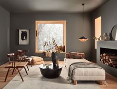 Color of the Month January 2021: Urbane Bronze | Tinted Maroon Walls, Bohemian Living Spaces, Grey Kitchen Designs, Living Etc, Benjamin Moore Colors, Color Trends, Design Trends, Design Ideas, Interior Design Inspiration