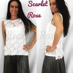 🌹White Lace Sleeveless Hi-Lo Tops🌹 Beautiful, feminine, delicate thick-laced sleeveless tops. Wear this with a cami or bralette underneath (both in my closet for sale) and a pair of jeans, jacket for winter, or shorts, and you've got a rockin' outfit. I have Sizes S(2-4), M(6-8), and L(10-12) available and they run TTS. These are awesome for any time of year because you can layer and wear with a cool jacket in Winter or wear alone in Summer. Please ask any sizing/material questions you may…