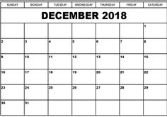 December 2018 Calendar Free Printable December 2018 Calendar