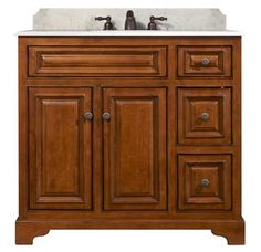 """View the Sunny Wood CB3621D Cambrian 36"""" Maple Wood Vanity Cabinet Only at FaucetDirect.com."""