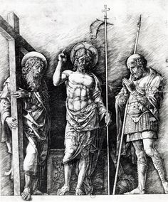 The resurrected Christ between St. Andrew and Longinus by @artistmantegna #earlyrenaissance