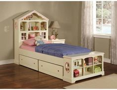 Doll house bed: bookshelve and paints, wood, trim/fabric