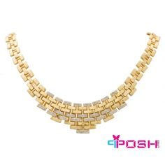 - Fashion Necklace - Gold tone bib style - Encrusted with clear stones - Box clasp closure - Dimensions: 48 cm circumference, 10 cm bib width Fashion Necklace, Fashion Jewelry, Luxury Shop, Passion For Fashion, Luxury Fashion, Women's Necklaces, Gold Necklace, Diamond, Bridal Collection