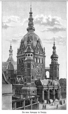 Danzig (Gdansk),  Polen, Synagoge, Original-Holzstich von 1887 Danzig, Germany And Prussia, Architecture Drawings, Religion, Kirchen, Historical Photos, Old World, Old Photos, Taj Mahal