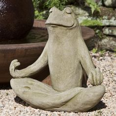 """Large Totally Zen Frog Statue - free shipping from thegardengates.com   $194.99 shown in English Moss (EM) Weight:  63 lbs. Height:  18"""" Width:  10""""   Length:  18 1/2"""" Manufactured by Campania International"""