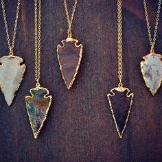 XMAS In JULY SALE Arrows /// Electroformed Gemstone Arrowhead /// Gold