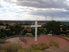 Cross of the Martyrs  New Mexico...Dad climbed to the top with me so that I could get a great sunset picture over Santa Fe.  Great memory!