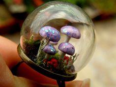 Lilac Purple Glow In Dark Mushrooms Glass by ThePurpleArtichoke7