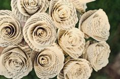 Flowers from book pages. Good for Valentine's Day and decor all year long.