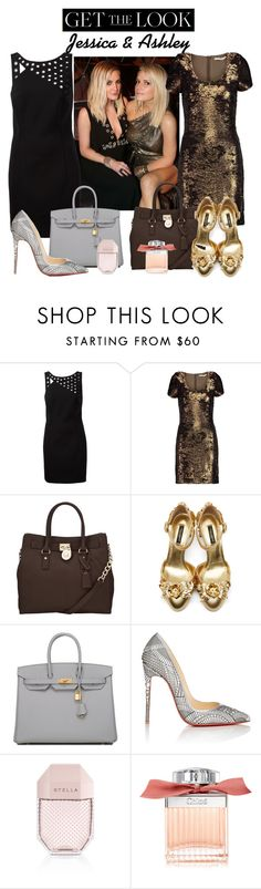 """Jessica & Ashley"" by isror ❤ liked on Polyvore featuring Anthony Vaccarello, Halston Heritage, MICHAEL Michael Kors, Dolce&Gabbana, Hermès, Christian Louboutin, STELLA McCARTNEY, Chloé, GetTheLook and celebritysiblings"