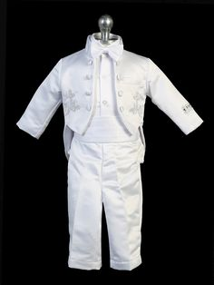 White Baptism Christening Suit Tuxedo w// Virgin Mary Santa Maria Size Newborn-7