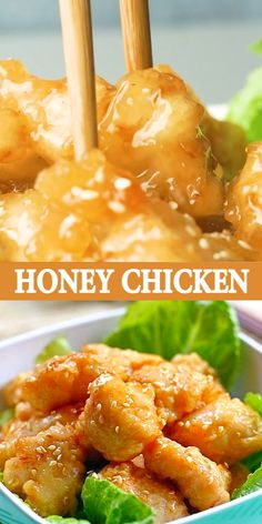 Honey Chicken - easy Chinese honey chicken with crispy chicken in sticky and sweet glaze. This recipe is better than Chinese restaurants, guaranteed! Ground Beef Recipes Easy, Easy Chicken Recipes, Asian Recipes, Healthy Recipes, Chinese Honey Chicken, Delicious Dinner Recipes, Most Delicious Recipe, Food Videos, Recipe Videos