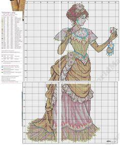 0 point de croix femme victorienne - cross stitch victorian lady