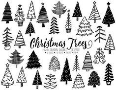 The cutest hand drawn Christmas tree clipart set includes 50 charming doodle Christmas tree, fir tree images with variations - decorated and plain. Set includes outlined and filled Christmas tree images for making festive Christmas cards, gift tags and more.  These whimsical hand drawn Christmas trees are perfect for giving an extra cute and cartoonish touch to any craft project - planner stickers, gift wrapping, scrapbooking, stationery, home decor, planner inserts, stickers and other…