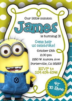 Despicable Me Minion Invitations by notyouraverageblonde on Etsy