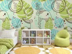 Fototapety do pokoju dziecka od bimago. Między innymi piękny, egzotyczny wzór w kolorze turkusowo-zielonym. W tych ślicznych słonikach zakocha się każdy maluch!