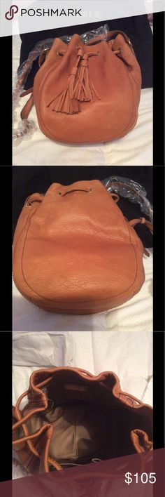 J. Crew Tassel Tie Bucket Bag New with tags, J Crew Tassel Tie Bucket Bag. Color is Warm Sienna. Leather is soft but appears to scratch like Mansur Gavriel.  Perfect bucket size with closure. J. Crew Bags Crossbody Bags