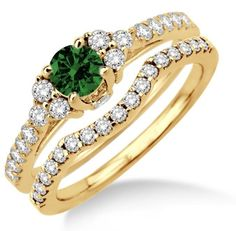 """1.5 Carat Emerald & Diamond Bridal set on 10k Yellow Gold. Say """" I DO"""" with the dazzling and perfect Emerald wedding ring engagement set. She will love this lovely and trendy style of this diamond and Emerald ring. 