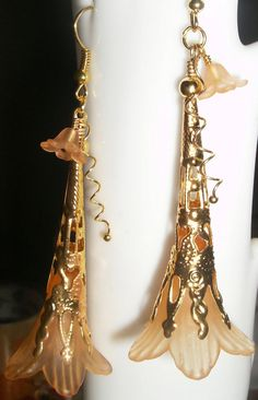 Elegant Lucite flowers with filigree accents by uniqueeuphoria, $10.00