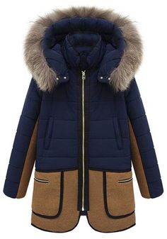 Hooded Colour Block Coat