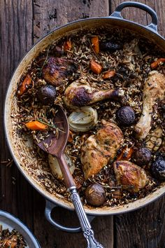 One-Pot Autumn Herb Roasted Chicken with Butter Toasted Wild Rice Pilaf