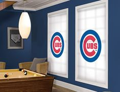 anything you want on your shades. Living Room Blinds, House Blinds, Blinds For Windows, Chicago Cubs Pictures, Cubs Room, Cheap Blinds, Cellular Blinds, Bali Blinds