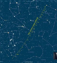 Finder chart for Comet Lovejoy, C/2014 Q2, during January 2015. The dates are in Universal Time; the ticks are at 0:00 UT (7 p.m. on the previous date Eastern Standard Time).