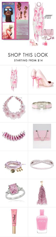"""Summer dress"" by deborah-518 ❤ liked on Polyvore featuring Dorothy Perkins, Le Specs, Retrò, Sophia Webster, NOVICA, Hermès, Chanel, Icz Stonez, Rosantica and Too Faced Cosmetics"