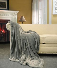 Loving this Gray Faux Fur Throw on #zulily! #zulilyfinds