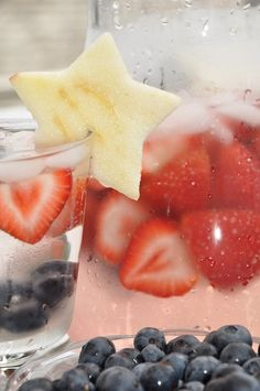 Fourth of July Spritzer recipe, just strawberries, blueberries, sprite, and carbonated lemonade.