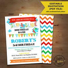 Slip N Slide Birthday Bash Invitation Backyard Primary Colors Pool Party Invite Instant Download YOU EDIT