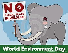 Cute mischievous smiling elephant with sign for animal rights and greeting message for World Environment Day.
