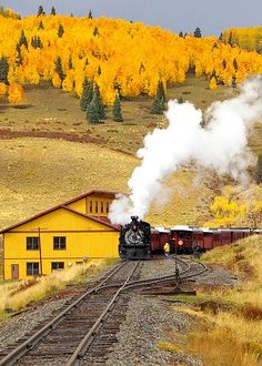 the old steam train and fall in all its beauty! The Hills of Osier - Conejos County, Colorado- an old railroad settlement and train stop approximately halfway along the Cumbres and Toltec Scenic Railroad Scenic Train Rides, Tramway, Old Trains, Steam Engine, Train Tracks, Mellow Yellow, Belle Photo, Wonders Of The World, Beautiful Places